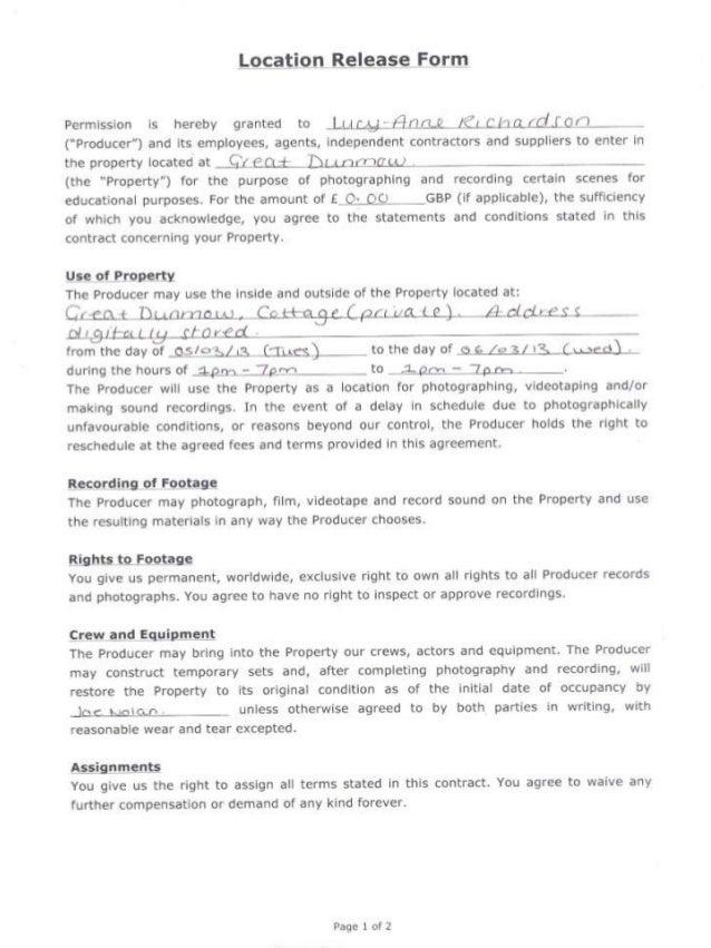 Location Agreement Release Form Heartpulsar