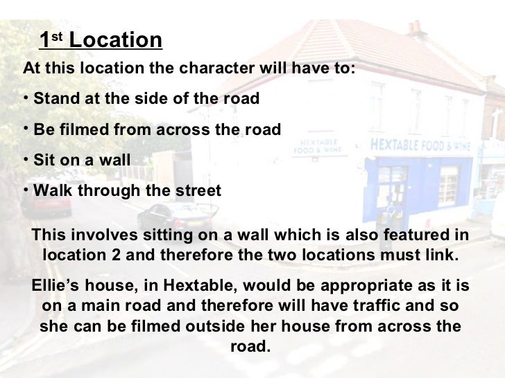 1st LocationAt this location the character will have to:• Stand at the side of the road• Be filmed from across the road• S...