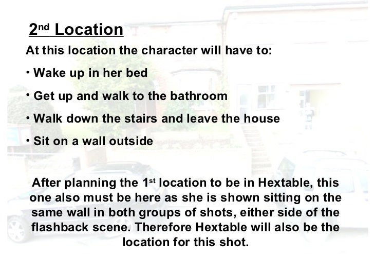 2nd LocationAt this location the character will have to:• Wake up in her bed• Get up and walk to the bathroom• Walk down t...