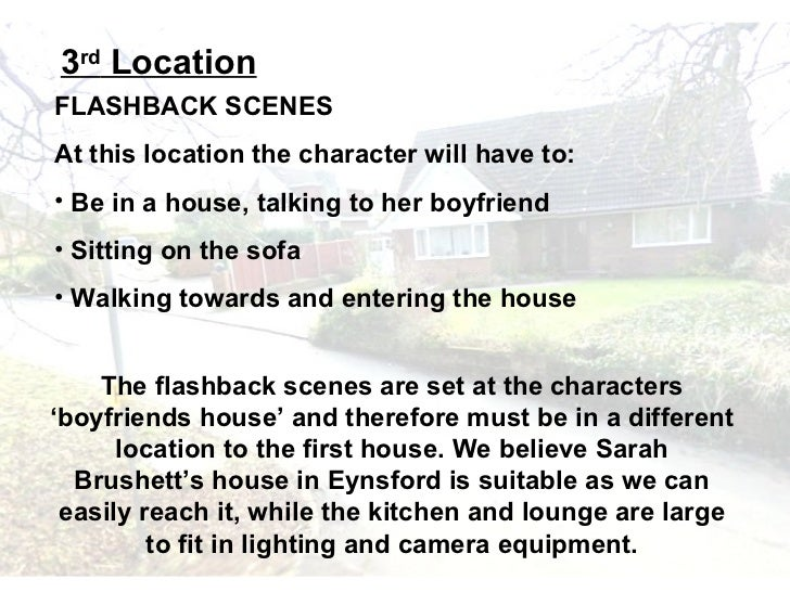 3rd LocationFLASHBACK SCENESAt this location the character will have to:• Be in a house, talking to her boyfriend• Sitting...