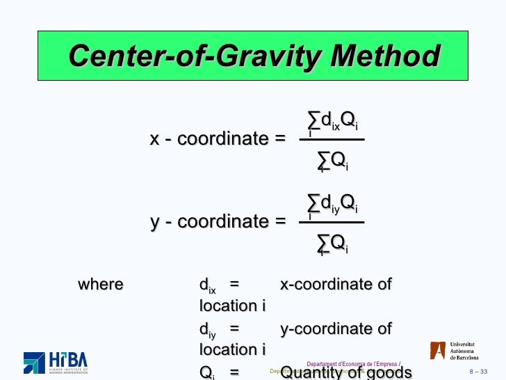 how to find center of gravity formula