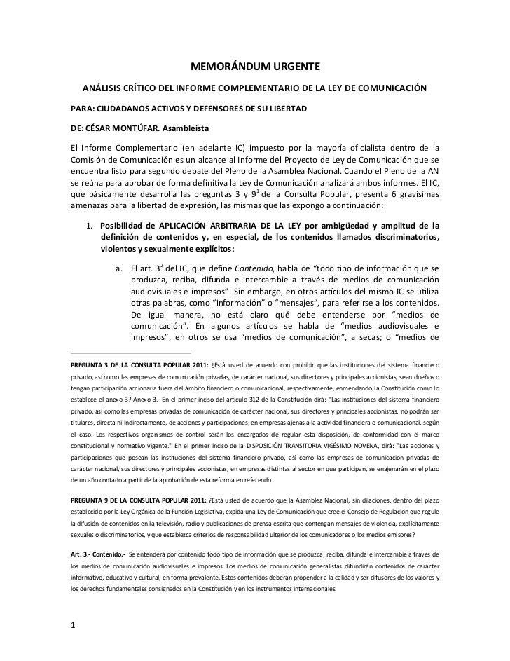 MEMORÁNDUM URGENTE<br />ANÁLISIS CRÍTICO DEL INFORME COMPLEMENTARIO DE LA LEY DE COMUNICACIÓN<br />PARA: CIUDADANOS ACTIVO...