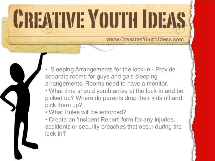 Youth Ministry Ideas Lock In Checklist