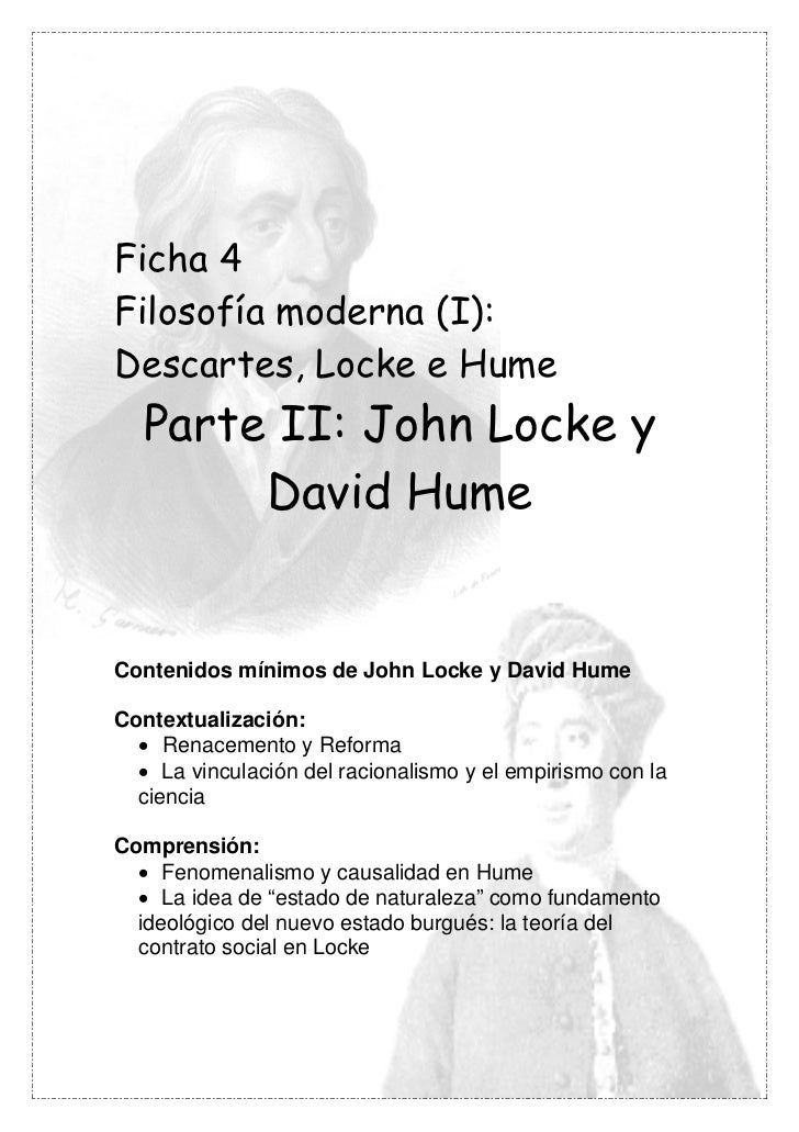 Ficha 4Filosofía moderna (I):Descartes, Locke e Hume  Parte II: John Locke y       David HumeContenidos mínimos de John Lo...