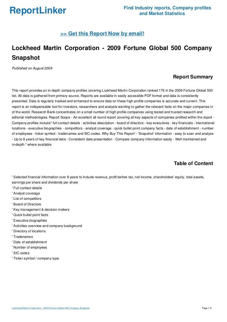 Lockheed Martin Corporation 2009 Fortune Global 500 Company Snapshot