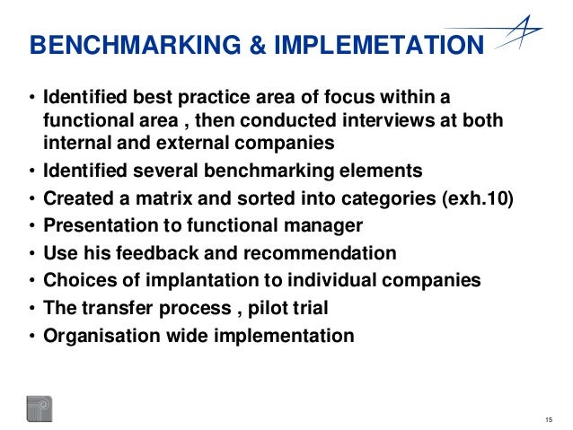 15  BENCHMARKING & IMPLEMETATION  • Identified best practice area of focus within a  functional area , then conducted inte...