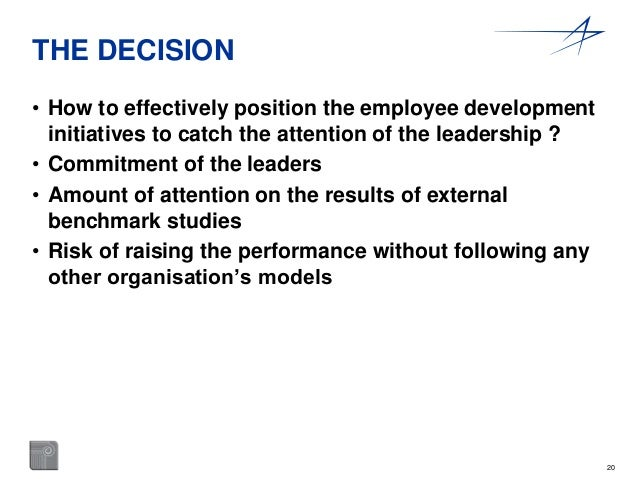 20  THE DECISION  • How to effectively position the employee development  initiatives to catch the attention of the leader...