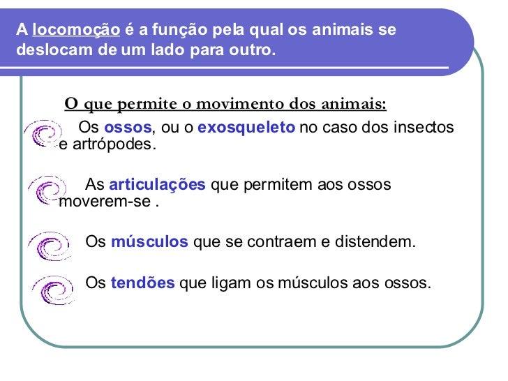 A  locomoção  é a função pela qual os animais se deslocam de um lado para outro. <ul><li>O que permite o movimento dos ani...