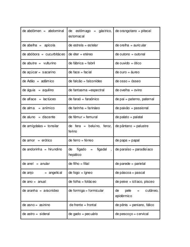 de abdômen = abdominal de estômago = gástrico, estomacal de orangotano = pitecal de abelha = apícola de estrela = estelar ...