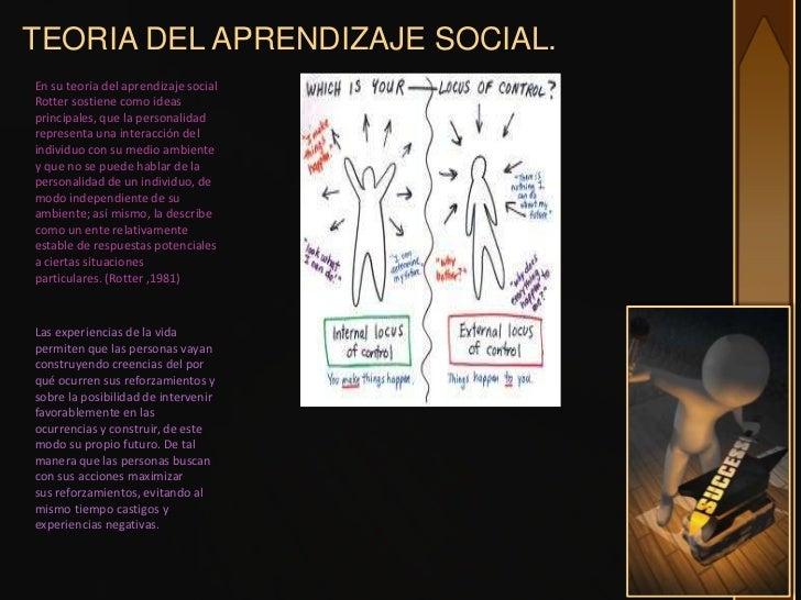 TEORIA DEL APRENDIZAJE SOCIAL.En su teoría del aprendizaje socialRotter sostiene como ideasprincipales, que la personalida...