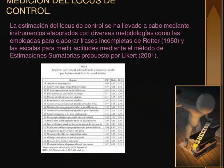 MEDICION DEL LOCUS DECONTROL.La estimación del locus de control se ha llevado a cabo medianteinstrumentos elaborados con d...
