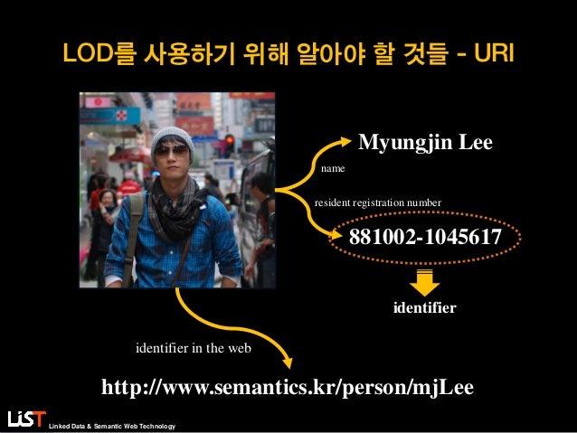 Linked Data & Semantic Web Technology LOD를 사용하기 위해 알아야 할 것들 - URI Myungjin Lee 881002-1045617 identifier name resident reg...