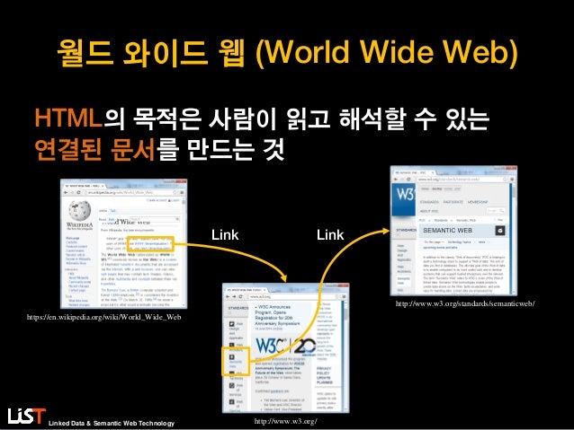 Linked Data & Semantic Web Technology 월드 와이드 웹 (World Wide Web) HTML의 목적은 사람이 읽고 해석할 수 있는 연결된 문서를 만드는 것 Link Link https://...