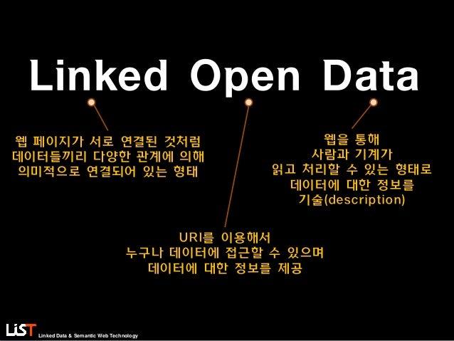 Linked Data & Semantic Web Technology Linked Open Data 웹을 통해 사람과 기계가 읽고 처리할 수 있는 형태로 데이터에 대한 정보를 기술(description) 웹 페이지가 서로...
