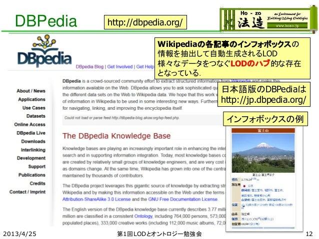 DBPedia 2013/4/25 第1回LODとオントロジー勉強会 Wikipediaの各記事のインフォボックスの 情報を抽出して自動生成されるLOD 様々なデータをつなぐLODのハブ的な存在 となっている. http://dbpedia.o...