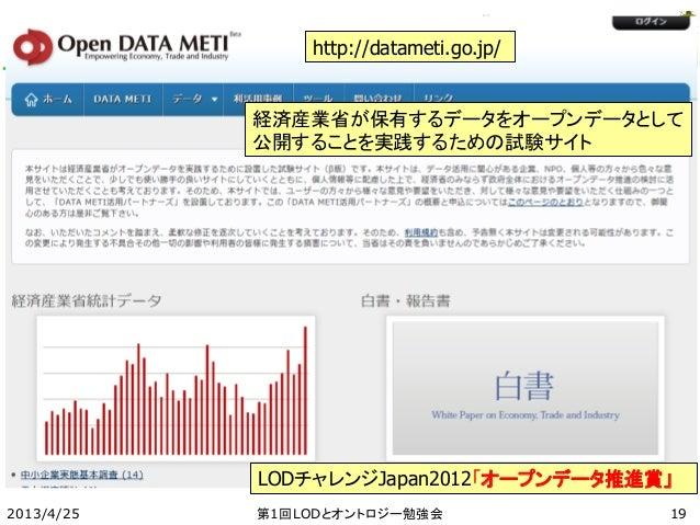 2013/4/25 第1回LODとオントロジー勉強会 http://datameti.go.jp/ 経済産業省が保有するデータをオープンデータとして 公開することを実践するための試験サイト LODチャレンジJapan2012「オープンデータ推進...