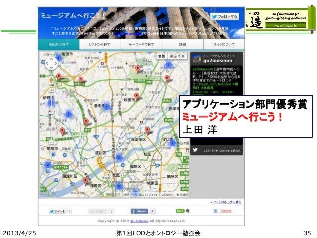 2013/4/25 第1回LODとオントロジー勉強会 アプリケーション部門優秀賞 ミュージアムへ行こう! 上田 洋 35