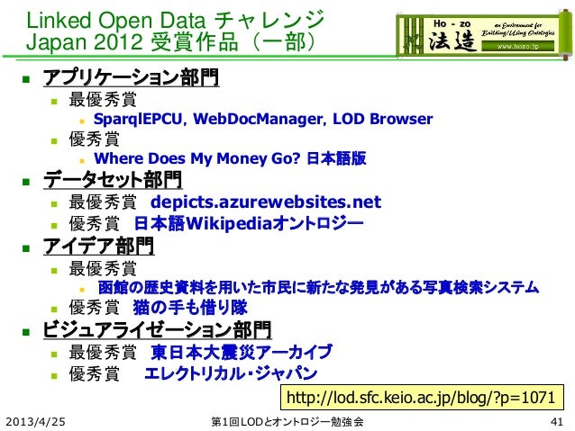 Linked Open Data チャレンジ Japan 2012 受賞作品(一部)  アプリケーション部門  最優秀賞  SparqlEPCU,WebDocManager,LOD Browser  優秀賞  Where Does M...