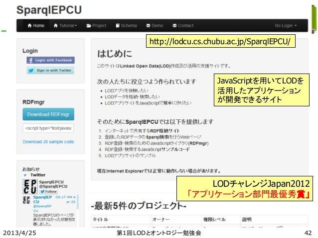 2013/4/25 第1回LODとオントロジー勉強会 42 http://lodcu.cs.chubu.ac.jp/SparqlEPCU/ JavaScriptを用いてLODを 活用したアプリケーション が開発できるサイト LODチャレンジJa...