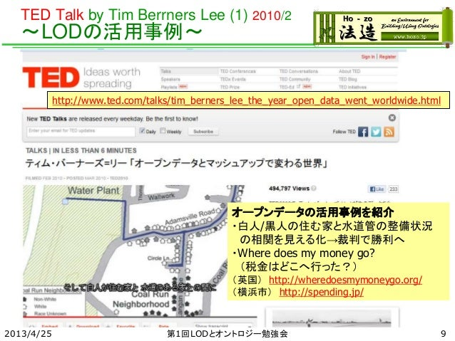 TED Talk by Tim Berrners Lee (1) 2010/2 ~LODの活用事例~ 2013/4/25 第1回LODとオントロジー勉強会 http://www.ted.com/talks/tim_berners_lee_the...
