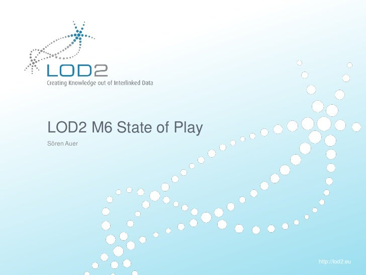 Creating Knowledge out of Interlinked Data       LOD2 M6 State of Play       Sören Auer                                   ...