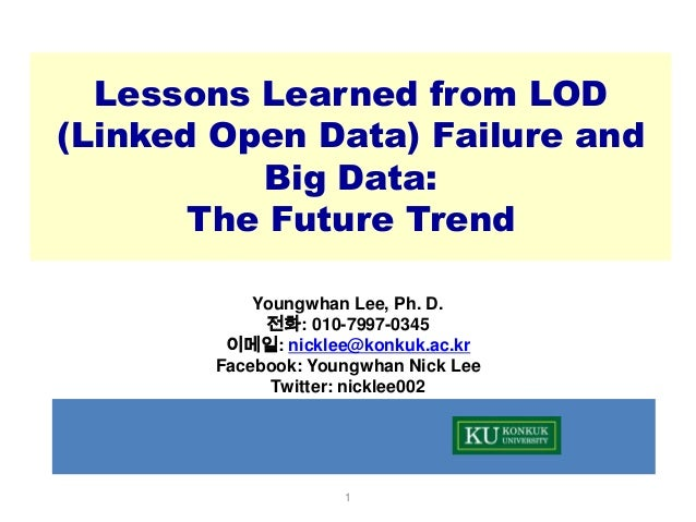 Lessons Learned from LOD (Linked Open Data) Failure and Big Data: The Future Trend Youngwhan Lee, Ph. D. 전화: 010-7997-0345...