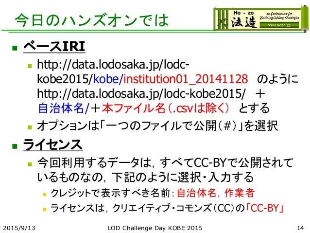 今日のハンズオンでは  ベースIRI  http://data.lodosaka.jp/lodc- kobe2015/kobe/institution01_20141128 のように http://data.lodosaka.jp/lodc...