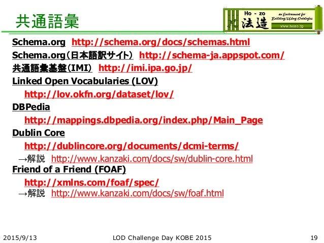 共通語彙 Schema.org http://schema.org/docs/schemas.html Schema.org(日本語訳サイト) http://schema-ja.appspot.com/ 共通語彙基盤(IMI) http://i...