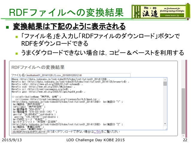 RDFファイルへの変換結果 2015/9/13 LOD Challenge Day KOBE 2015 22  変換結果は下記のように表示される  「ファイル名」を入力し「RDFファイルのダウンロード」ボタンで RDFをダウンロードできる ...