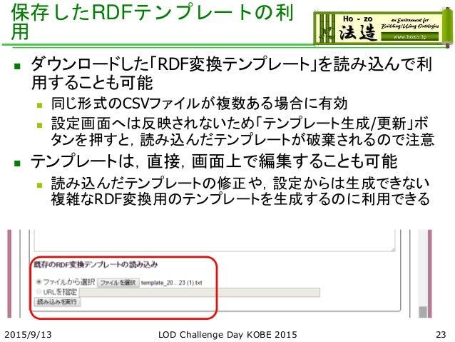 保存したRDFテンプレートの利 用  ダウンロードした「RDF変換テンプレート」を読み込んで利 用することも可能  同じ形式のCSVファイルが複数ある場合に有効  設定画面へは反映されないため「テンプレート生成/更新」ボ タンを押すと,読...