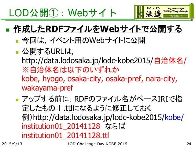 LOD公開①:Webサイト  作成したRDFファイルをWebサイトで公開する  今回は,イベント用のWebサイトに公開  公開するURLは, http://data.lodosaka.jp/lodc-kobe2015/自治体名/ ※自治体...