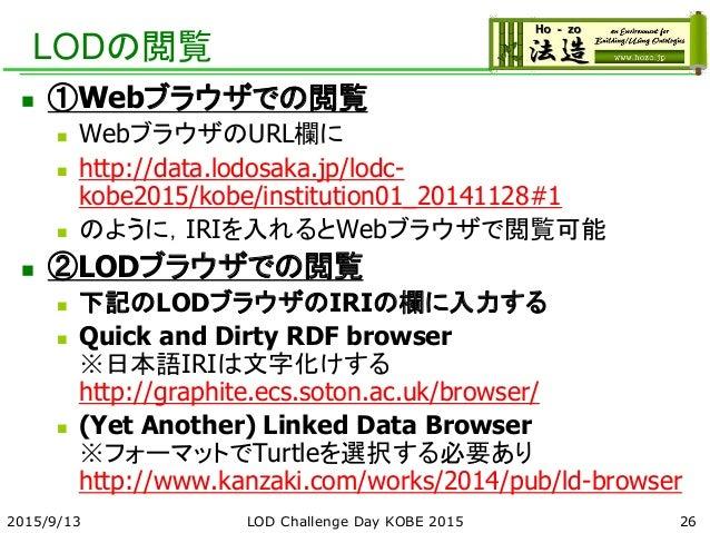 LODの閲覧  ①Webブラウザでの閲覧  WebブラウザのURL欄に  http://data.lodosaka.jp/lodc- kobe2015/kobe/institution01_20141128#1  のように,IRIを入れ...
