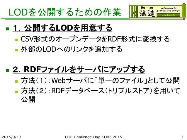 LODを公開するための作業  1.公開するLODを用意する  CSV形式のオープンデータをRDF形式に変換する  外部のLODへのリンクを追加する  2.RDFファイルをサーバにアップする  方法(1):Webサーバに「単一のファイル...