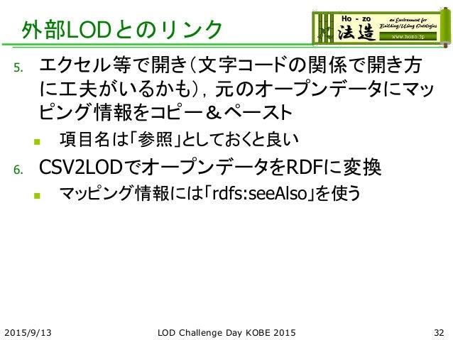 外部LODとのリンク 5. エクセル等で開き(文字コードの関係で開き方 に工夫がいるかも),元のオープンデータにマッ ピング情報をコピー&ペースト  項目名は「参照」としておくと良い 6. CSV2LODでオープンデータをRDFに変換  マ...