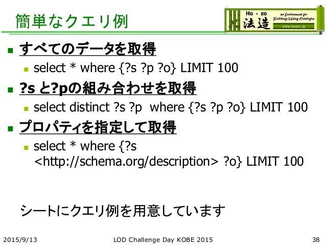 簡単なクエリ例  すべてのデータを取得  select * where {?s ?p ?o} LIMIT 100  ?s と?pの組み合わせを取得  select distinct ?s ?p where {?s ?p ?o} LIMI...