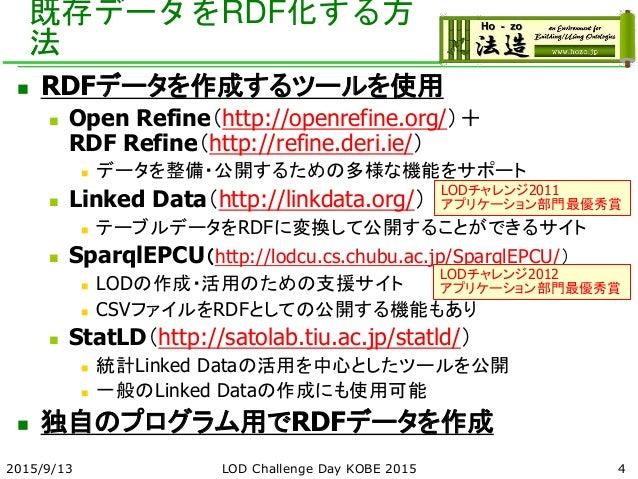 既存データをRDF化する方 法  RDFデータを作成するツールを使用  Open Refine(http://openrefine.org/)+ RDF Refine(http://refine.deri.ie/)  データを整備・公開す...