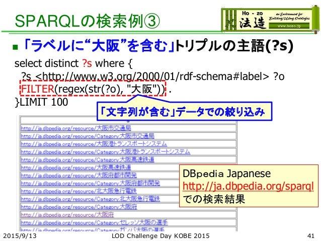 "SPARQLの検索例③  「ラベルに""大阪""を含む」トリプルの主語(?s) select distinct ?s where { ?s <http://www.w3.org/2000/01/rdf-schema#label> ?o FILTE..."