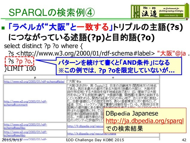 """SPARQLの検索例④  「ラベルが""""大阪""""と一致する」トリプルの主語(?s) につながっている述語(?p)と目的語(?o) select distinct ?p ?o where { ?s <http://www.w3.org/2000/0..."""
