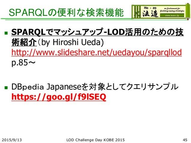 SPARQLの便利な検索機能  SPARQLでマッシュアップ-LOD活用のための技 術紹介(by Hiroshi Ueda) http://www.slideshare.net/uedayou/sparqllod p.85~  DBpedi...