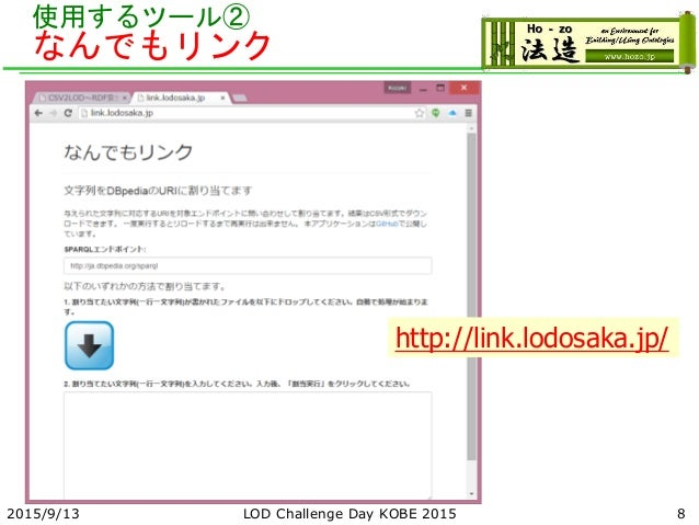 使用するツール② なんでもリンク 2015/9/13 LOD Challenge Day KOBE 2015 8 http://link.lodosaka.jp/