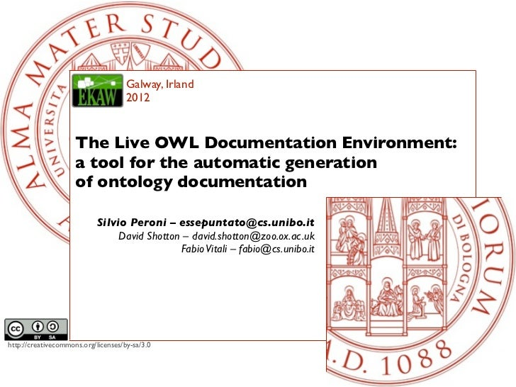 Galway, Irland                                     2012                     The Live OWL Documentation Environment:       ...