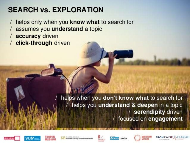 SEARCH vs. EXPLORATION / helps only when you know what to search for / assumes you understand a topic / accuracy driven / ...