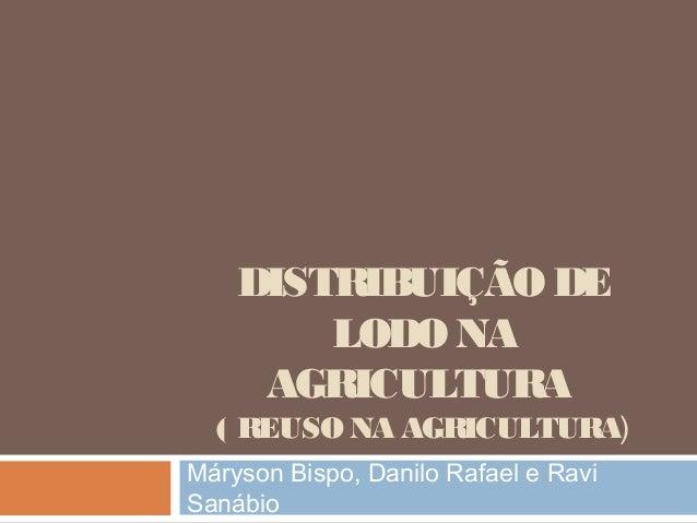 DISTRIBUIÇÃO DE LODO NA AGRICULTURA ( REUSO NA AGRICULTURA) Máryson Bispo, Danilo Rafael e Ravi Sanábio