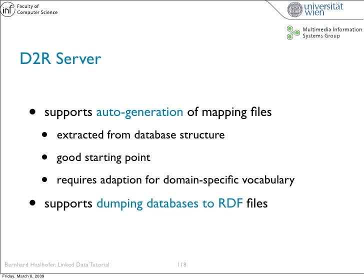 D2R Server                •          supports auto-generation of mapping files                    •      extracted from dat...