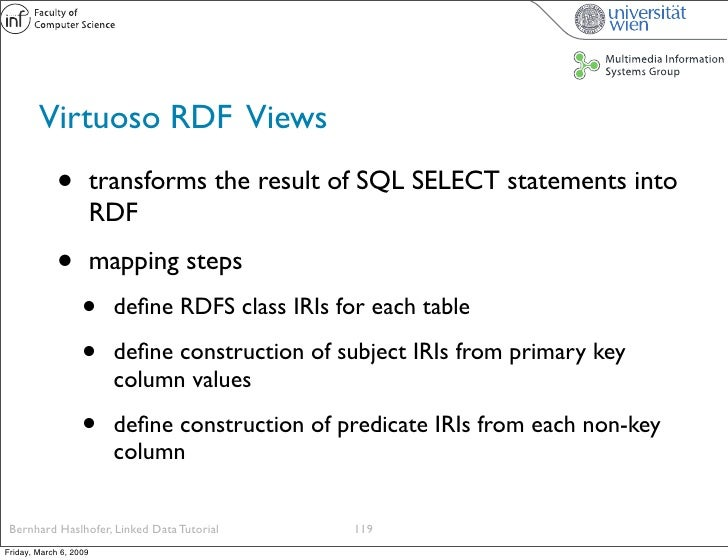 Virtuoso RDF Views              •          transforms the result of SQL SELECT statements into                         RDF...