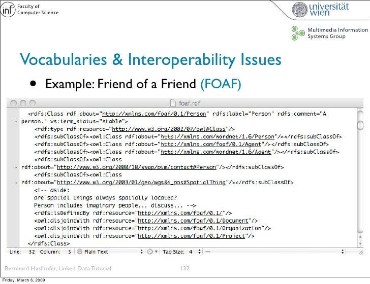 Vocabularies & Interoperability Issues              •          Example: Friend of a Friend (FOAF)      Bernhard Haslhofer,...