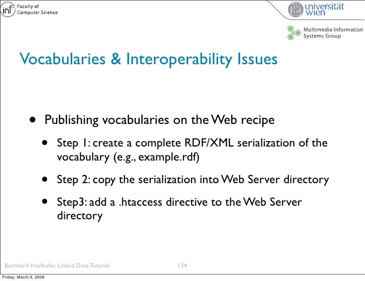 Vocabularies & Interoperability Issues                •          Publishing vocabularies on the Web recipe                ...