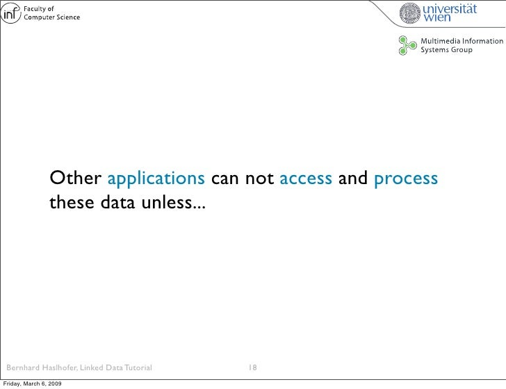 Other applications can not access and process                 these data unless...      Bernhard Haslhofer, Linked Data Tu...