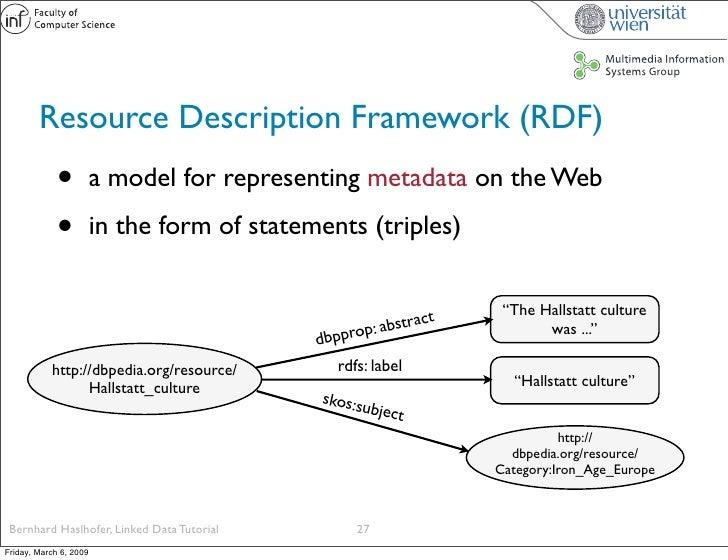 Resource Description Framework (RDF)              •          a model for representing metadata on the Web               • ...
