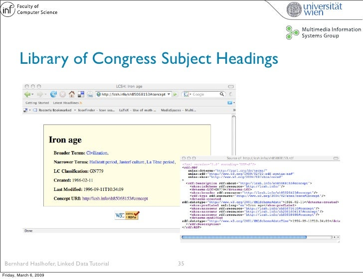 Library of Congress Subject Headings      Bernhard Haslhofer, Linked Data Tutorial   35 Friday, March 6, 2009